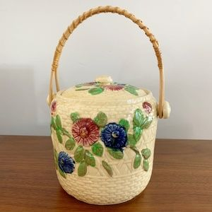 Vintage 70s Clay Boho Flower Basket Handle & Lid